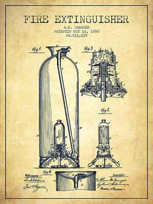 1880 Fire Extinguisher Patent - Vintage Art Print