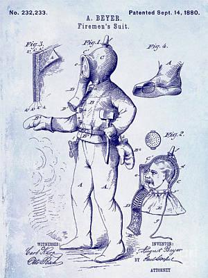 1880 Fireman Suite Patent Art Print by Jon Neidert