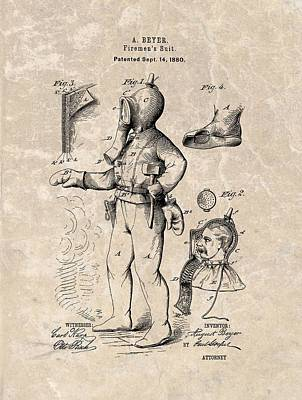 Digital Art - 1880 Firemen's Suit Patent by Dan Sproul