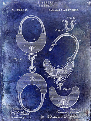 1880 Handcuff Patent Blue Art Print by Jon Neidert