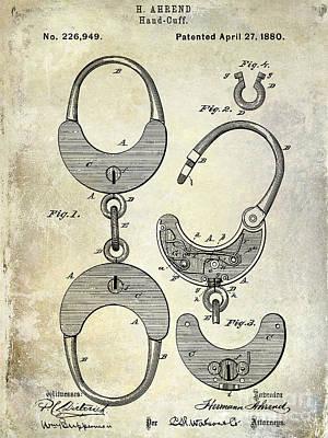 Police Photograph - 1880 Handcuff Patent by Jon Neidert