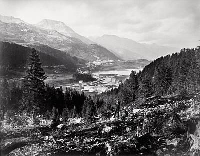 Ski-scape Photograph - 1880 Panorama Of St. Moritz, Switzerland by Historic Image