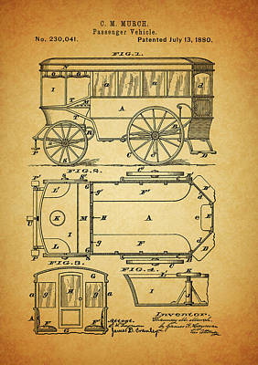 Buggy Mixed Media - 1880 Passenger Wagon Patent by Dan Sproul