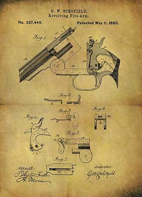 Drawing - 1880 Schofield Revolver Patent by Dan Sproul