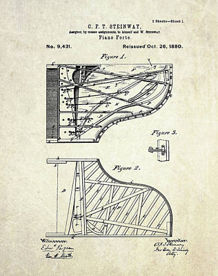 Print Drawing - 1880 Steinway Piano Forte Patent Art Sheet 1  by Gary Bodnar