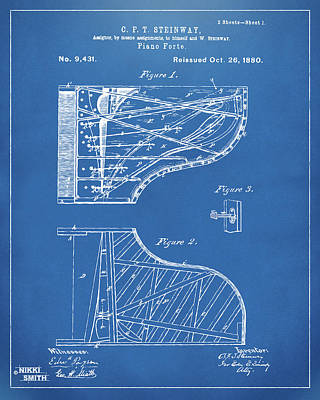 Digital Art - 1880 Steinway Piano Forte Patent Blueprint by Nikki Marie Smith
