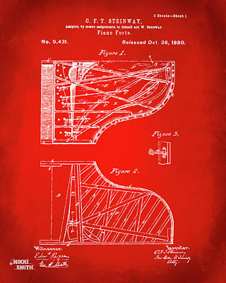 Digital Art - 1880 Steinway Piano Forte Patent Red by Nikki Marie Smith