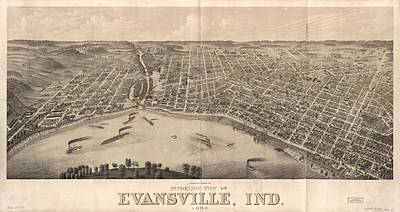 Southern Indiana Mixed Media - 1880 Vintage Evansville Map by Dan Sproul