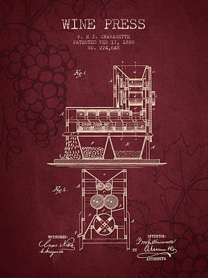 1880 Wine Press Patent - Red Wine Art Print by Aged Pixel