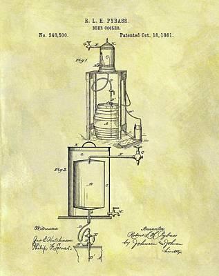 Beer Drawings - 1881 Beer Cooler Patent by Dan Sproul
