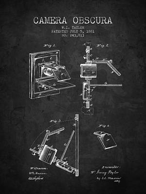 Camera Digital Art - 1881 Camera Obscura Patent - Charcoal - Nb by Aged Pixel