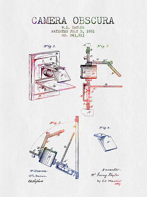 Camera Digital Art - 1881 Camera Obscura Patent - Color by Aged Pixel