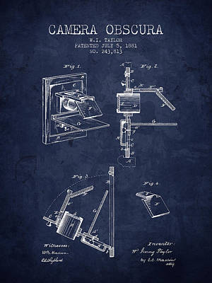 Camera Digital Art - 1881 Camera Obscura Patent - Navy Blue - Nb by Aged Pixel