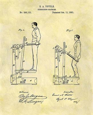 Nike Drawing - 1881 Exercising Machine Patent by Dan Sproul
