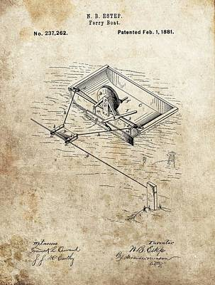 Drawing - 1881 Ferry Boat Patent by Dan Sproul
