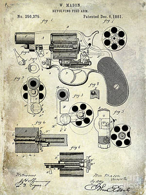 1800s Photograph - 1881 Revolver Patent  by Jon Neidert