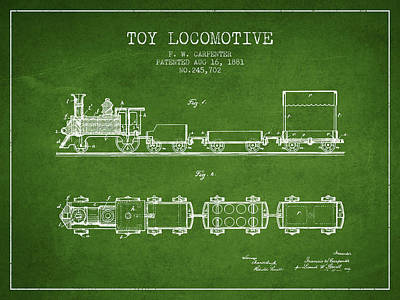 Train Drawing - 1881 Toy Locomotive Patent - Green by Aged Pixel