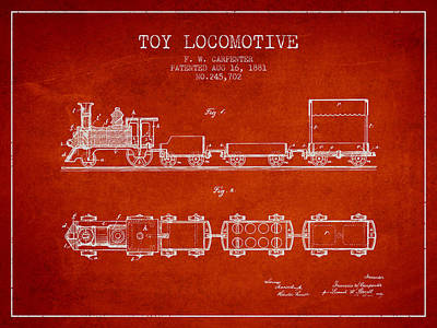 Train Drawing - 1881 Toy Locomotive Patent - Red by Aged Pixel
