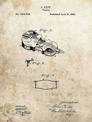 Musicians Drawings - 1881 Violin Patent by Dan Sproul