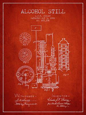 Whiskies Digital Art - 1882 Alcohol Still Patent Fb80_vr by Aged Pixel