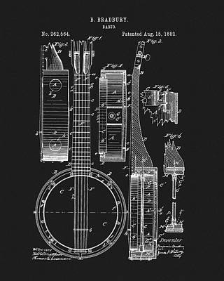 Musicians Drawings - 1882 Banjo Patent by Dan Sproul