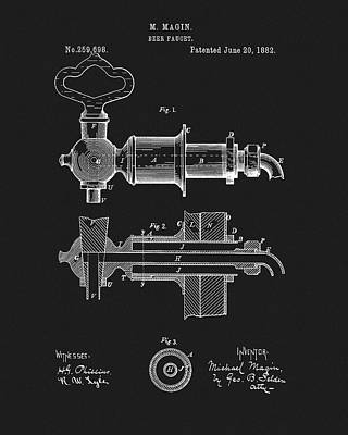 Mixed Media - 1882 Beer Faucet Patent by Dan Sproul