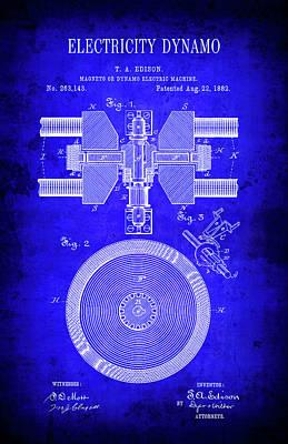 1882 Electricity Dynamo Patent Blueprint Art Print by Daniel Hagerman