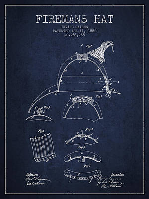Technical Photograph - 1882 Firemans Hat Patent - Navy Blue by Aged Pixel