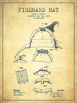 Gear Digital Art - 1882 Firemans Hat Patent - Vintage by Aged Pixel