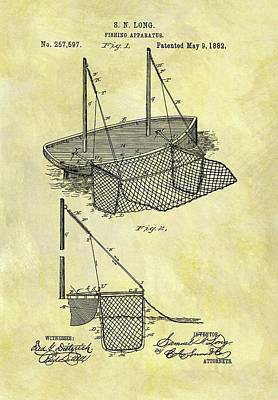 1882 Fishing Net Patent Art Print by Dan Sproul
