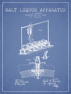 Beer Royalty-Free and Rights-Managed Images - 1882 Malt Liquor Apparatus patent - Light Blue by Aged Pixel