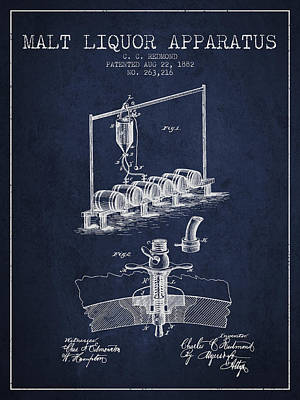 Liquor Digital Art - 1882 Malt Liquor Apparatus Patent - Navy Blue by Aged Pixel