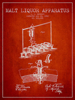 Beer Royalty-Free and Rights-Managed Images - 1882 Malt Liquor Apparatus patent - Red by Aged Pixel