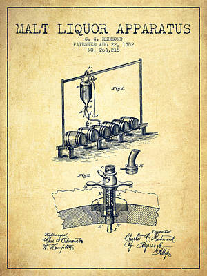Beer Royalty-Free and Rights-Managed Images - 1882 Malt Liquor Apparatus patent - Vintage by Aged Pixel