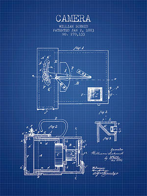 1883 Camera Patent - Blueprint Art Print