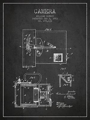 1883 Camera Patent - Charcoal Art Print