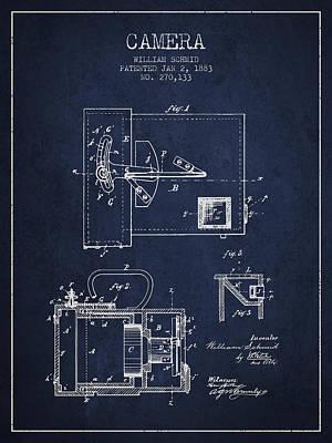 1883 Camera Patent - Navy Blue Art Print