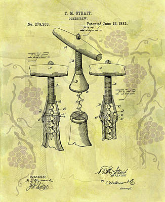 Mixed Media - 1883 Corkscrew Patent Art by Dan Sproul