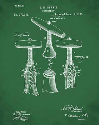 1883 Corkscrew Patent In Green Art Print
