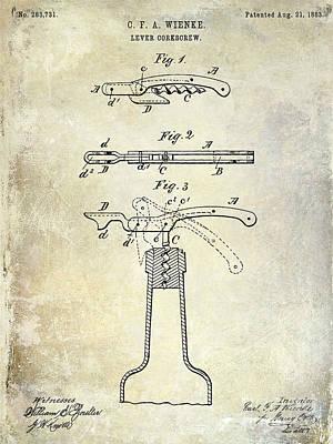 Merlot Photograph - 1883 Corkscrew Patent by Jon Neidert