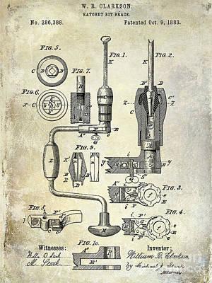 1883 Drill Patent Print by Jon Neidert