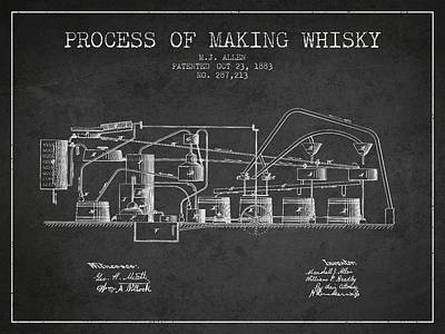 Whiskies Digital Art - 1883 Process Of Making Whisky Patent Fb76_cg by Aged Pixel