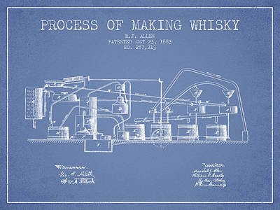 Whiskies Digital Art - 1883 Process Of Making Whisky Patent Fb76_lb by Aged Pixel