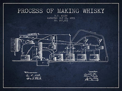 Whiskies Digital Art - 1883 Process Of Making Whisky Patent Fb76_nb by Aged Pixel