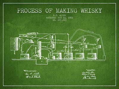 Whiskies Digital Art - 1883 Process Of Making Whisky Patent Fb76_pg by Aged Pixel