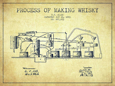 Whiskies Digital Art - 1883 Process Of Making Whisky Patent Fb76_vn by Aged Pixel