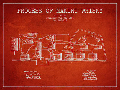 Whiskies Digital Art - 1883 Process Of Making Whisky Patent Fb76_vr by Aged Pixel