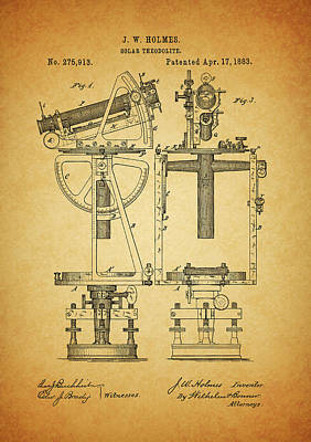 Compass Mixed Media - 1883 Solar Theodolite Patent by Dan Sproul