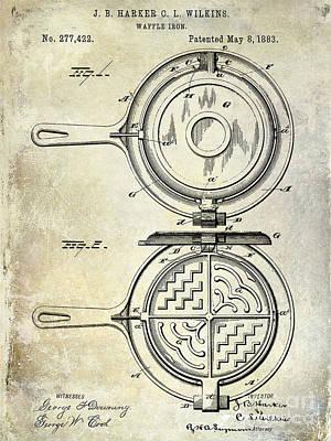 Old Diner Photograph - 1883 Waffle Iron Patent  by Jon Neidert