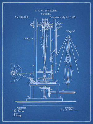 Drawing - 1883 Windmill Patent by Dan Sproul